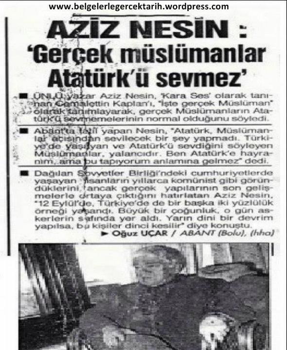 Aziz Nesin Gerçek Müslüman Atatürkü Sevemez Seviyorsa Ya