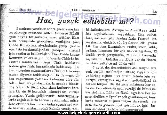 hac yasagi hacca gitmek yasaklandi mi, sebilürresad dergisi Eylül 1948, cild 1 sayi 15, sayfa 237,