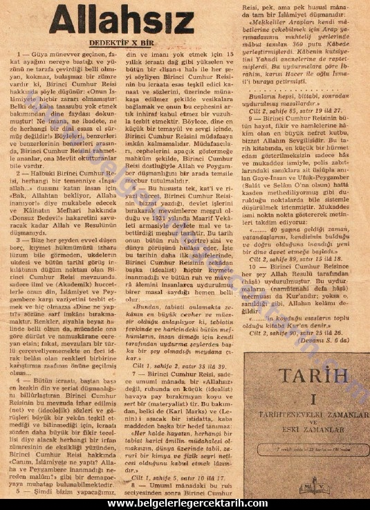 atatürk necip fazil kisakürek m. kemal allahsiz büyük dogu dergisi 22 aralik 1950, sayi 40, sayfa 3. dedektif x bir necip fazil kisakürek