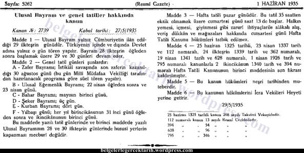 Atatürk cuma tatili cuma günü tatili cuma namazi chp hakki kilic cuma günü pazar oldu belge resmi gazete 2