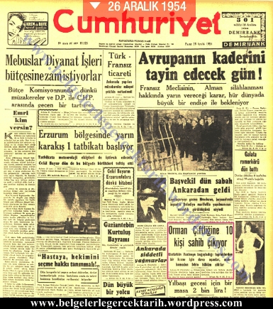 Atatürkün malvarligi Atatürkün mal varligi Atatürk'ün malvarligi Atatürk'ün mal varligi 24 aralik 1954 cumhuriyet gazetesi atatürke acilan dava atatürk orman ciftligi dava