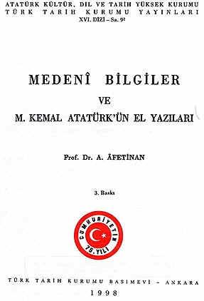 Kemal atatürk türk tarih kurumu afet inan medeni bilgiler el yazisi