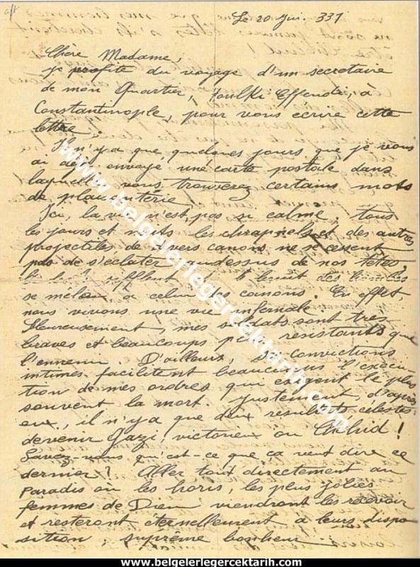 m. kemal atatürkün madame corinne yazdigi mektup 20 temmuz 1915 atatürk madam corinne