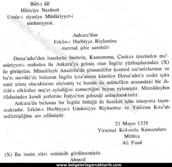 M. Kemal atatürk ingilizlerle isbirligi M. Kemal atatürk ingiliz ajani, M. Kemal atatürk ingiliz istihbarati ali fuat pasa ingilizler ankaradan cekiliyor