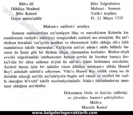 M. Kemal atatürk ingilizlerle isbirligi M. Kemal atatürk ingiliz ajani, M. Kemal atatürk ingiliz istihbarati samsun mutasarrifi hamid bey belge