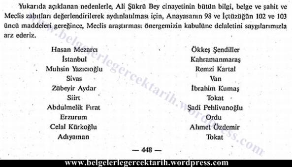 ali sükrü topal osman olayi hasan mezarci genelge meclis tutanagi muhsin yazicioglu imza