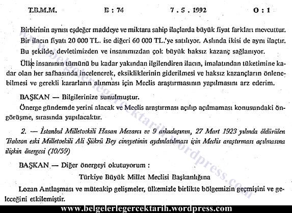 ali sükrü topal osman olayi hasan mezarci genelge meclis tutanagi