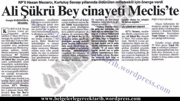 ali sükrü topal osman olayi hasan mezarci genelge muhsin yazicioglu milliyet