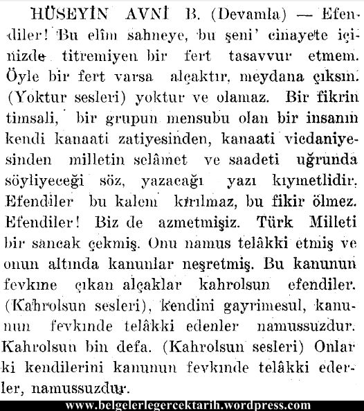 ali sükrü topal osman olayi hüseyin avni meclis tutanagi