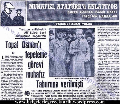 ali sükrü topal osman olayi ismail hakki tekce milliyet gazetesi