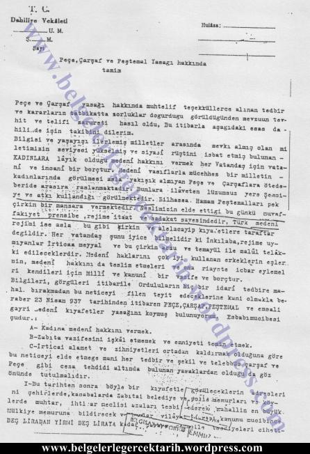 atatürk carsaf yasagi atatürk pece yasagi atatürk tesettür yasagi atatürk basörtüsü belge 23 nisan 1937