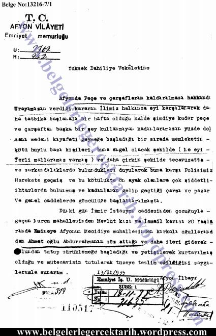 atatürk carsaf yasagi atatürk pece yasagi atatürk tesettür yasagi atatürk basörtüsü corum 13 11 1935