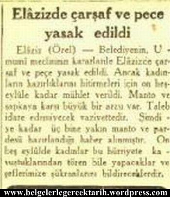 Elazigda elazizde carsaf yasagi pece yasagi pestamal yasagi atatürk carsaf cumhuriyet gazetesi 13 eylül 1935