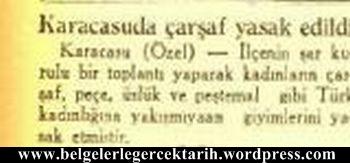 Karacasuda carsaf yasagi pece yasagi pestamal yasagi atatürk carsaf cumhuriyet gazetesi 13 eylül 1935