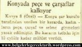 konyada carsaf yasagi pece yasagi pestamal yasagi atatürk carsaf cumhuriyet gazetesi 9 agustos 1935