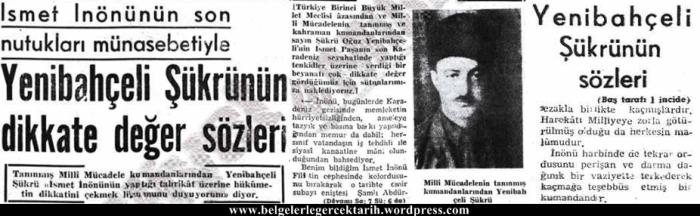 Milliyet gazetesi 17 Mayis 1952 Yenibahceli Sükrü Oguz Ismet Inönü
