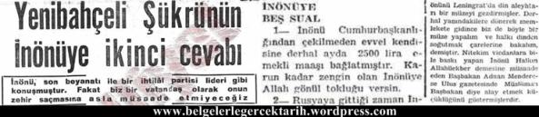 Milliyet gazetesi 30 Mayis 1952 Yenibahceli Sükrü Ismet Inönü rusya müze din Allahuekber