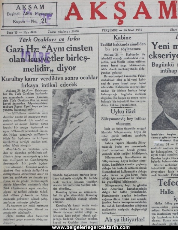 m. kemal atatürk mason localari m. kemal atatürk türk ocaklari aksam gazetesi 26 Mart 1931