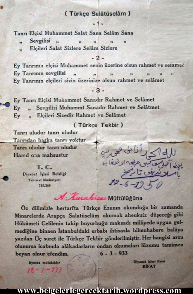 Türkce Ezan, Türkce Salatu Selam, Türkce tekbir, Türkce ibadet Atatürk müslüman mi, Atatürk dindar mi, Atatürk dinsiz mi Tanri Uludur, Atatürk Ezan