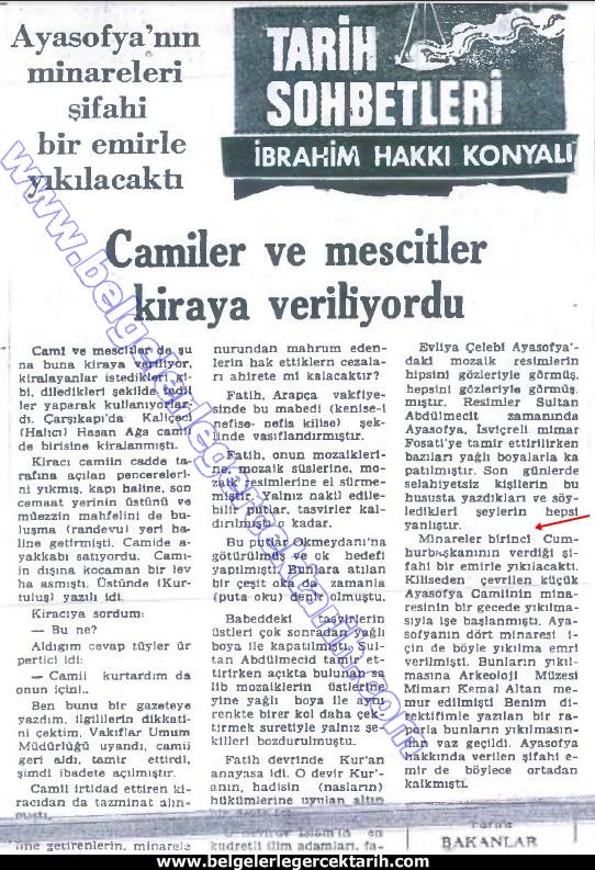 küyük ayasofya cami minaresi yikildi yeni asya gazetesi 1 ekim 1974 ibrahim hakki konyali