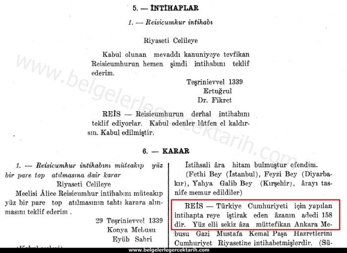m. kemal atatürkün cumhurbaskani secilmesi 158 milletvekili atatürk nasil cumhurbaskani secildi 2