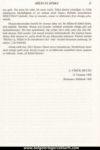 Abdülvehhab Sarani Imam Sarani Mizanül Kübra Dört hak mezhebin büyük fikih kitabi ve tasavvufi yorumlari sayfa 11