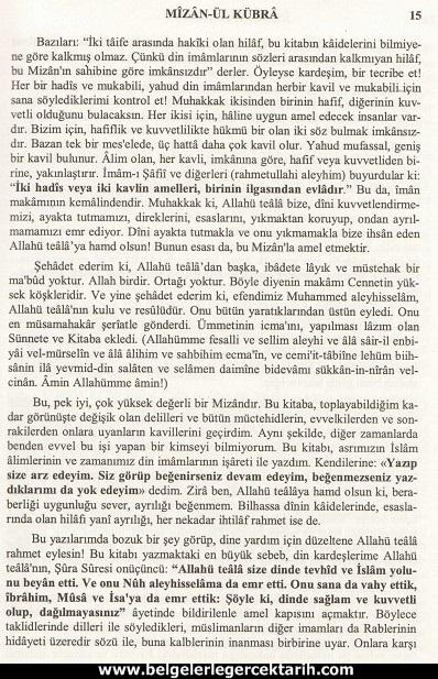 Abdülvehhab Sarani Imam Sarani Mizanül Kübra Dört hak mezhebin büyük fikih kitabi ve tasavvufi yorumlari sayfa 15