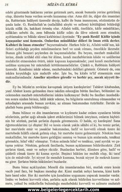 Abdülvehhab Sarani Imam Sarani Mizanül Kübra Dört hak mezhebin büyük fikih kitabi ve tasavvufi yorumlari sayfa 16