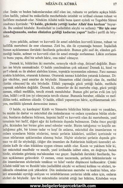 Abdülvehhab Sarani Imam Sarani Mizanül Kübra Dört hak mezhebin büyük fikih kitabi ve tasavvufi yorumlari sayfa 17