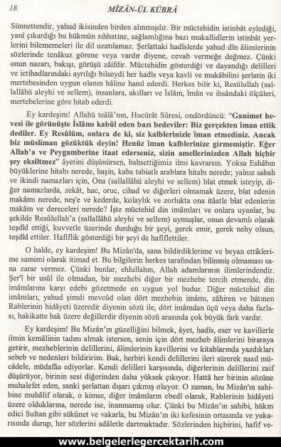 Abdülvehhab Sarani Imam Sarani Mizanül Kübra Dört hak mezhebin büyük fikih kitabi ve tasavvufi yorumlari sayfa 18