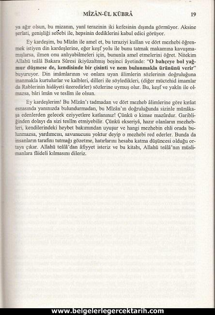 Abdülvehhab Sarani Imam Sarani Mizanül Kübra Dört hak mezhebin büyük fikih kitabi ve tasavvufi yorumlari sayfa 19