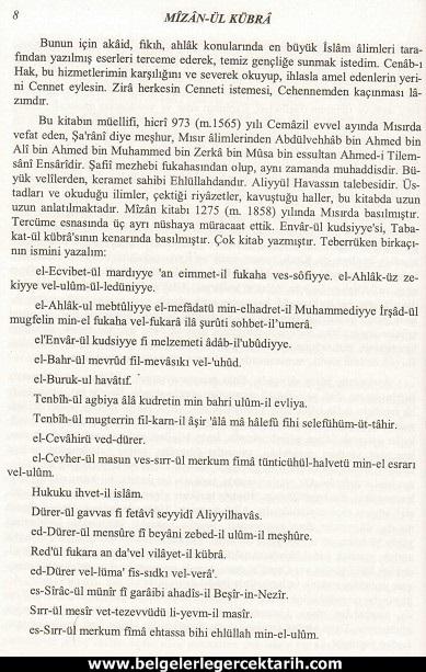 Abdülvehhab Sarani Imam Sarani Mizanül Kübra Dört hak mezhebin büyük fikih kitabi ve tasavvufi yorumlari sayfa 8