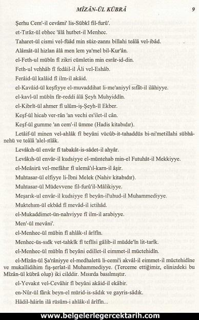 Abdülvehhab Sarani Imam Sarani Mizanül Kübra Dört hak mezhebin büyük fikih kitabi ve tasavvufi yorumlari sayfa 9