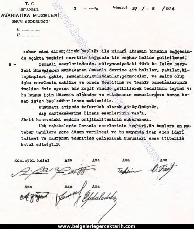 Ayasofya'nin müze olabilmesi için gerekli olan çalismalara dair komisyonun ilk raporu.