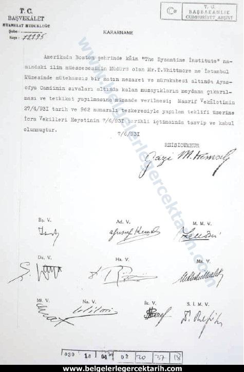 ayasofyayi atatürk mü kapatti, ayasofyayi atatürk mü müze yapti atatürk ayasofya imza belgeler kitabinda bilgi var BCA  nr  030 18 01  02 20 37 18