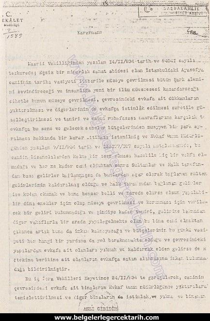 ayasofyayi atatürk mü kapatti ayasofyayi m. kemal mi kapatti ayasofya kararnamesi 1 atatürkün imzasi sahte mi, ayasofyayi atatürk mü müzeye cevirdi