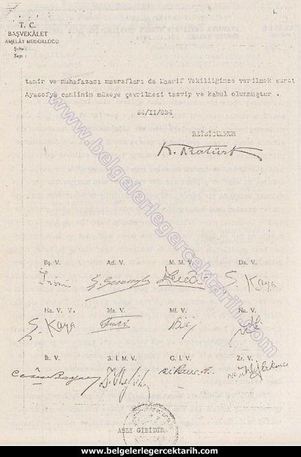 ayasofyayi atatürk mü kapatti ayasofyayi m. kemal mi kapatti ayasofya kararnamesi 2 atatürkün imzasi sahte mi, ayasofyayi atatürk mü müzeye cevirdi