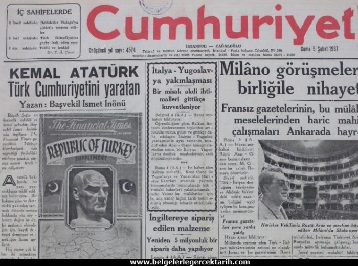 ismet inönü ayasofya müze ayasofya cami m. kemal atatürk cumhuriyet gazetesi sayfa 1
