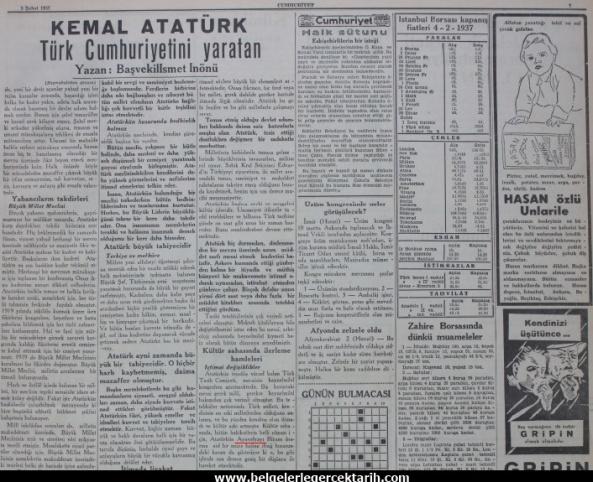 ismet inönü ayasofya müze ayasofya cami m. kemal atatürk cumhuriyet gazetesi sayfa 7