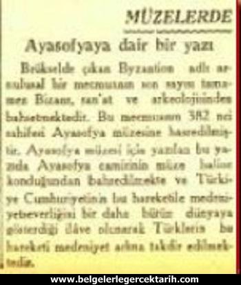 m. kemal atatürk ayasofya cami ayasofyayi atatürk mü kapatti, ayasofyayi atatürk mü ibadete kapatti, ayasofyayi atatürkmü müze yapti, ayasofya cumhuriyet gazetesi