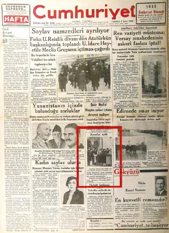 2 Şubat 1935 tarihli Cumhuriyet Gazetesi'nde Ayasofya'nın müze olarak açılış haberi.