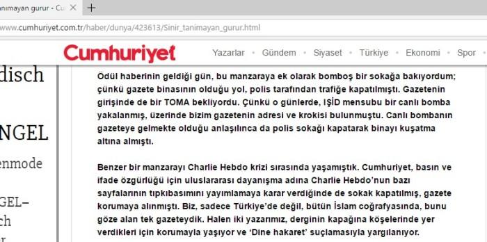 cumhuriyet gazetesi Hz. Peygambere hakaret charlie hebdo karikatürleri