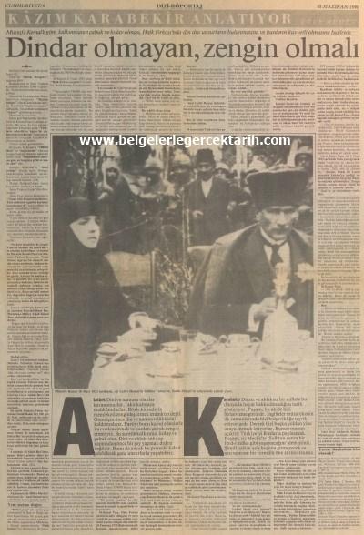 Kazim Karabekir hatiralar ugur mumcu cumhuriyet gazetesi, namusu olanlar kazanamazlar, nasil hiristiyan olacaktik, arapoglunun yaveleri 18 haziran 1990 cumhuriyet 1