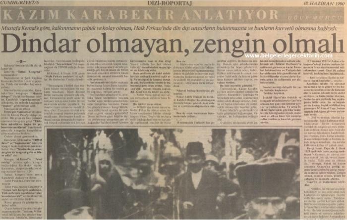 Kazim Karabekir hatiralar ugur mumcu cumhuriyet gazetesi, namusu olanlar kazanamazlar, nasil hiristiyan olacaktik, arapoglunun yaveleri 18 haziran 1990 cumhuriyet 2