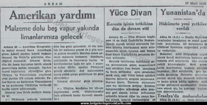 chp amerikan abd inönü antiemperyalist miydi, chp marshall plani menderes marshall yardimi aksam gazetesi 25 mart 1948