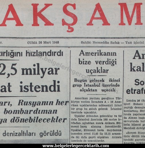ucak ekonomi fabrika chp amerikan abd inönü antiemperyalist miydi, chp marshall plani menderes marshall yardimi aksam gazetesi 26 mart 1948