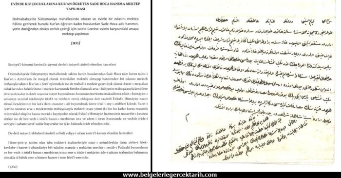 osmanlida evinde kiz cocuklarina Kur'an ögreten kadina mektep tahsisi
