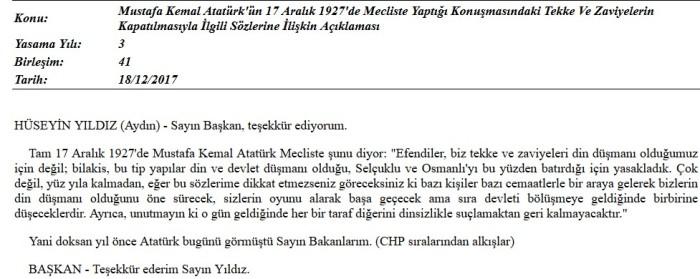 Atatürk-17-Aralık-1927-söz m. kemal atatürk cemaatler m. kemal cemaatler atatürk tarikatlar m. kemal tarikatlar din düsmani oldugumuz icin kapatmadik chp milletvekili hüseyin yildiz