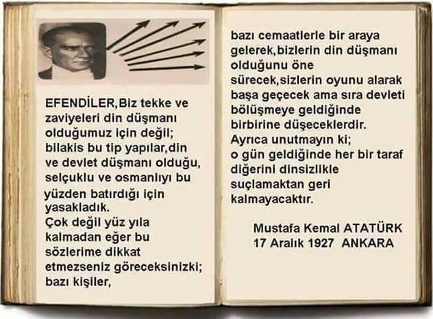 Atatürk-17-Aralık-1927-söz m. kemal atatürk cemaatler m. kemal cemaatler atatürk tarikatlar m. kemal tarikatlar din düsmani oldugumuz icin kapatmadik