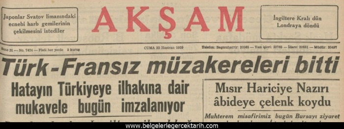 Enver Aysever Hatay m.kemal Atatürk Kadir Candarlioglu enver aysever kapak aksam gazetesi 23 haziran 1939